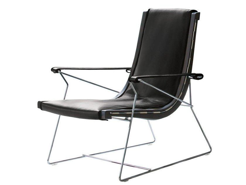 Sled base leather armchair with armrests J.J. | Leather armchair - B&B Italia