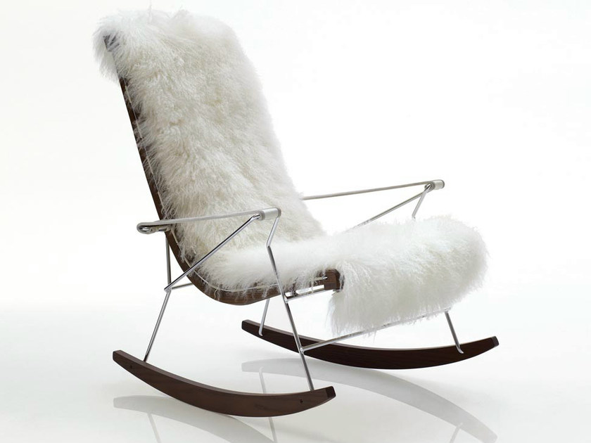 Rocking leather armchair with armrests J.J. | Fur armchair by B&B Italia