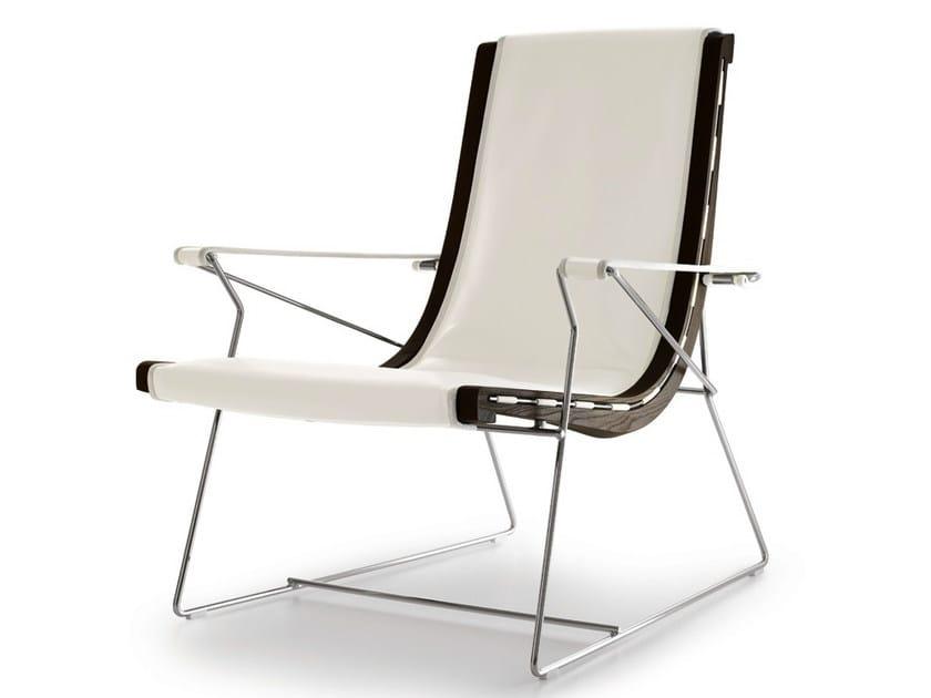 Sled base fabric armchair with armrests J.J.   Sled base armchair - B&B Italia