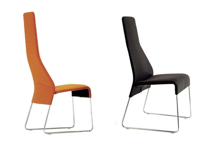 Sled base high-back upholstered fabric armchair LAZY '05 | Sled base armchair - B&B Italia