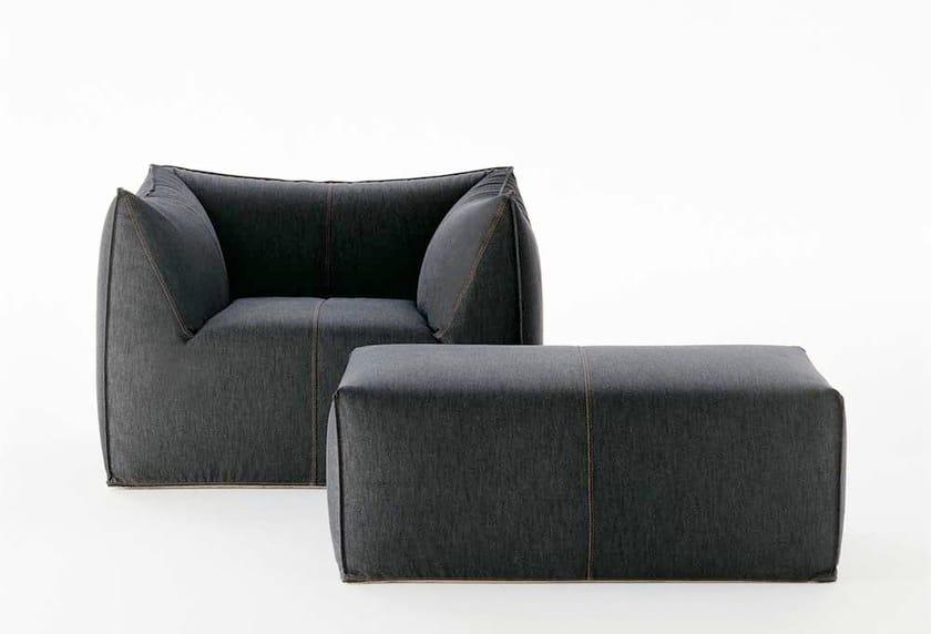 Upholstered fabric armchair with armrests with footstool LE BAMBOLE '07 | Armchair - B&B Italia