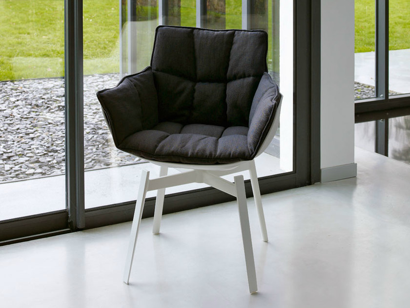 Upholstered fabric chair with armrests HUSK | Fabric chair by B&B Italia