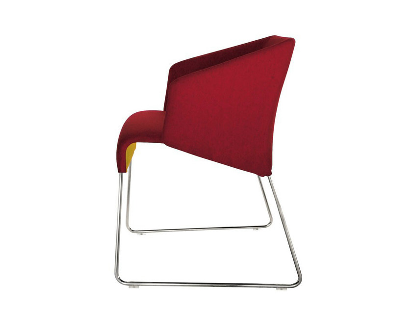 Sled base fabric chair with armrests LAZY '05 | Chair - B&B Italia