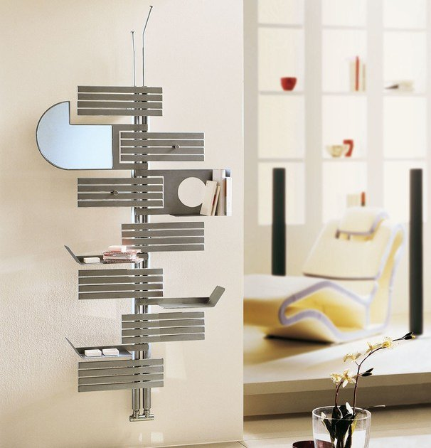 Brushed-finish wall-mounted decorative radiator BABYLA | Brushed steel radiator - CORDIVARI