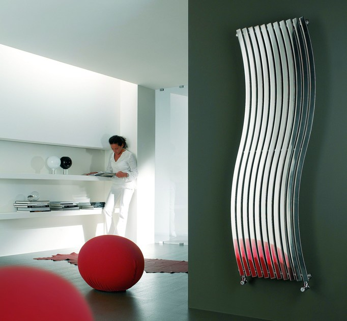 Hot-water wall-mounted glossy steel decorative radiator LOLA VT - CORDIVARI