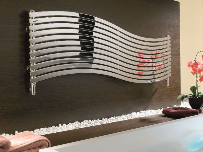 Hot-water horizontal glossy steel decorative radiator LOLA OR - CORDIVARI