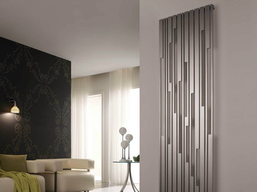 Brushed steel decorative radiator STRADIVARI VT by CORDIVARI