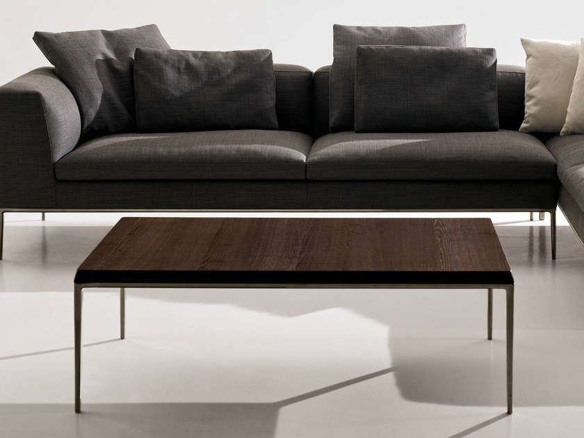 Low rectangular solid wood coffee table MICHEL | Coffee table - B&B Italia