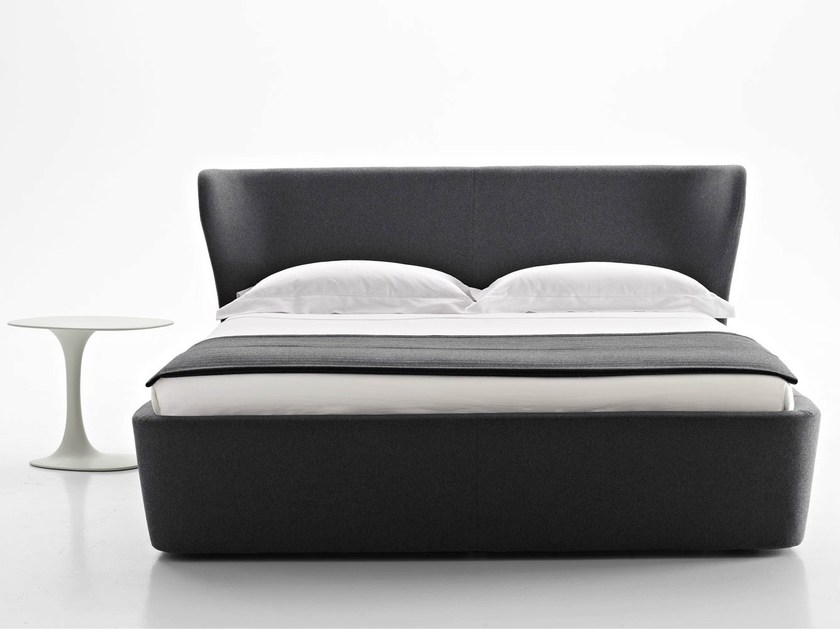 Fabric double bed with upholstered headboard PAPILIO | Bed - B&B Italia