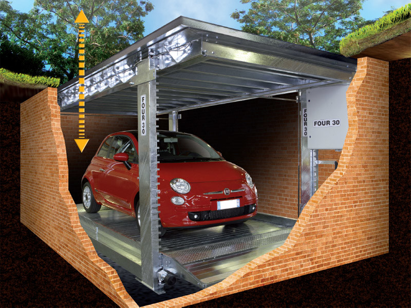 Sistema di parcheggio automatico duplo o me r for Quattro piani di garage per auto