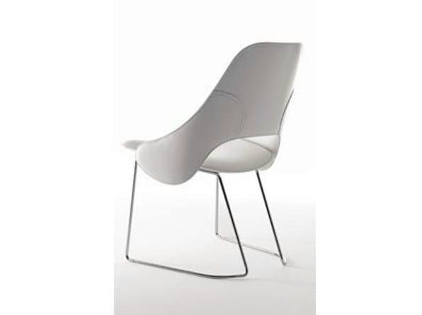 Sled base leather easy chair TENDER S   Sled base easy chair - ITALY DREAM DESIGN - Kallisté