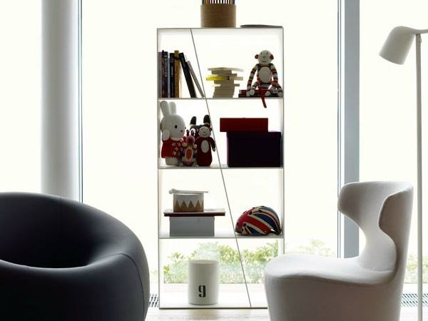 Open double-sided Corian® bookcase SHELF - B&B Italia