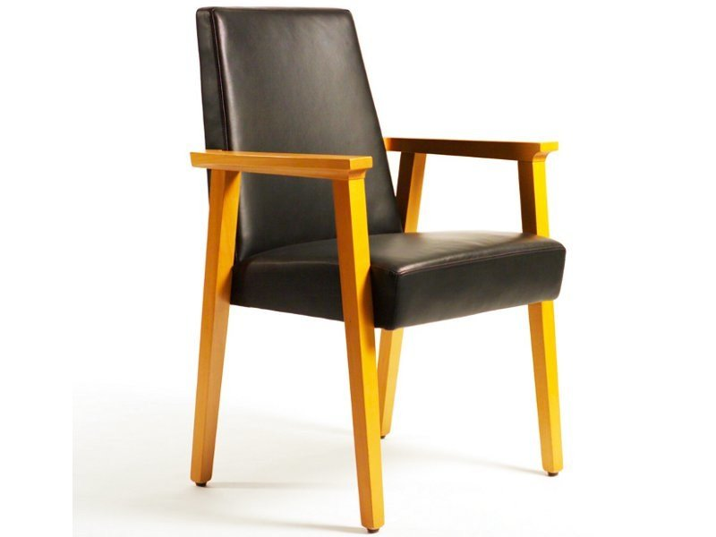 Upholstered leather chair with armrests CONFERENCE | Leather chair - Inno Interior Oy