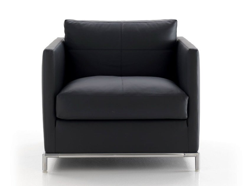 Upholstered leather armchair with armrests GEORGE | Armchair - B&B Italia Project, a brand of B&B Italia Spa