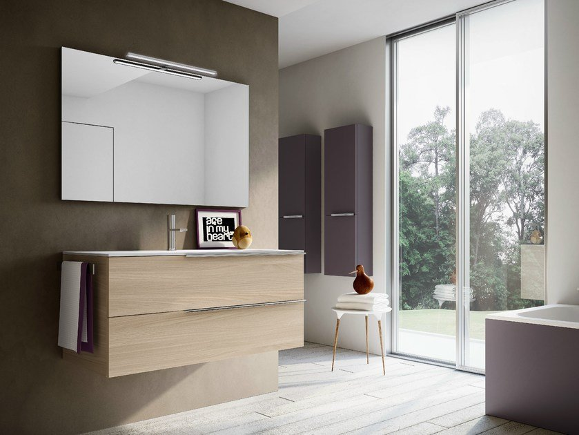 Double vanity unit with mirror MY TIME 13 by Idea
