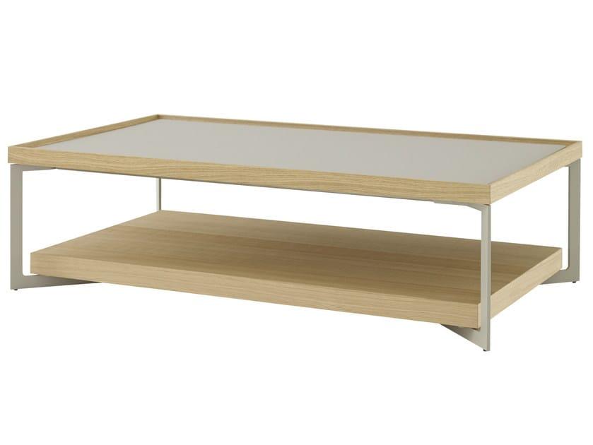 Low rectangular oak coffee table ESTAMPE | Low coffee table - ROSET ITALIA