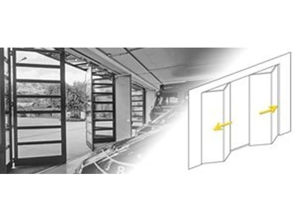 Drive mechanism for folding door leaves Antrieb für Faltflügeltore by Gilgen Door Systems
