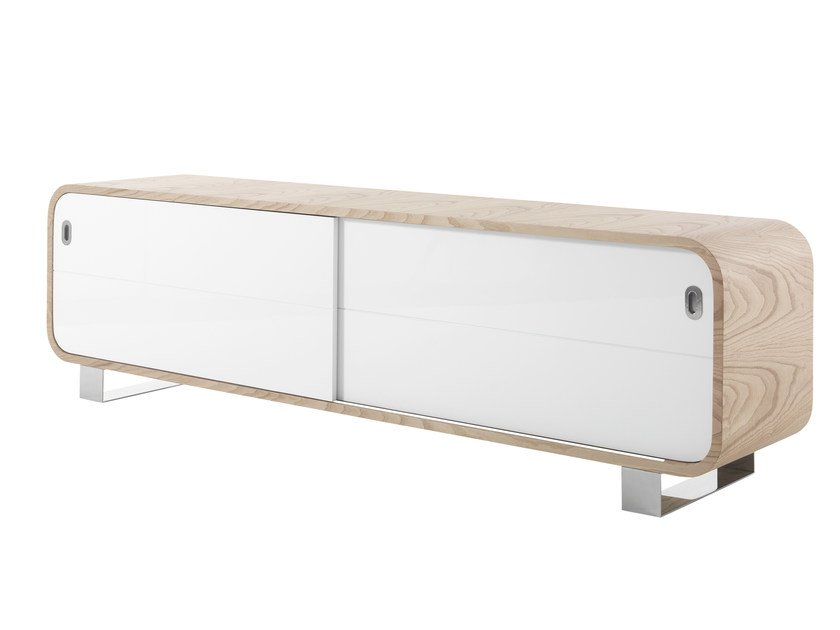 Wood veneer sideboard with sliding doors MARLY | Sideboard with sliding doors - AZEA