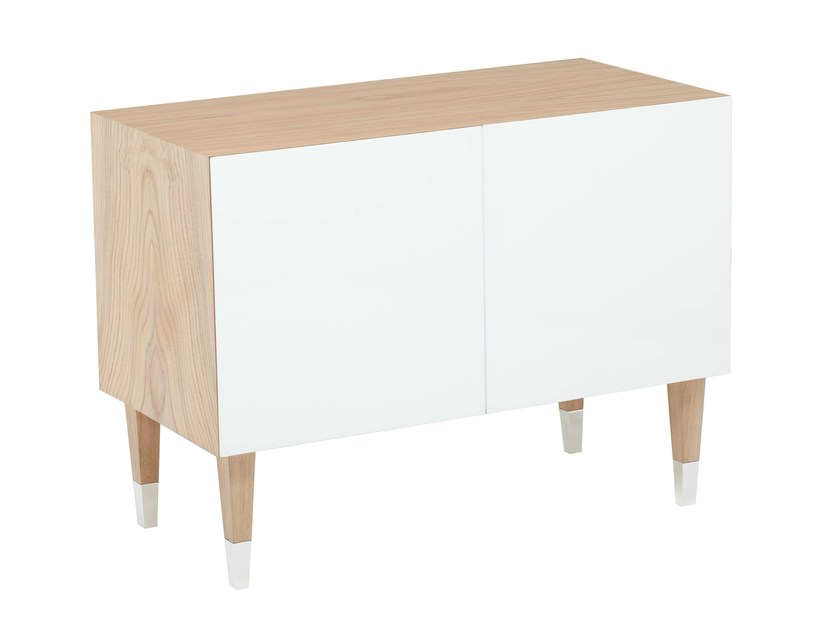 Lacquered wood veneer sideboard with doors WARHOL by AZEA