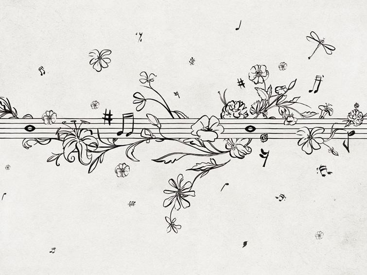 With floral pattern MUSIK METRIK by Wall&decò