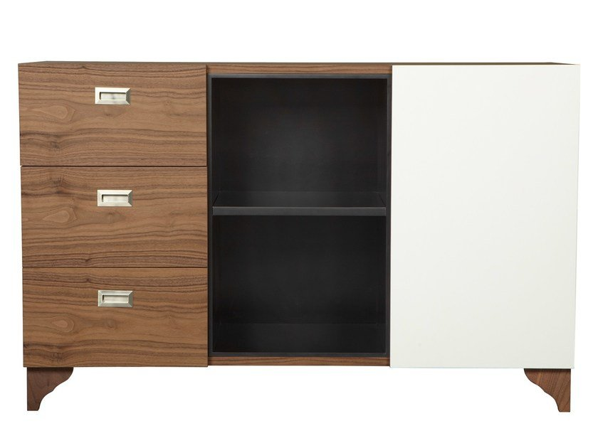 Wood veneer sideboard with drawers CAMERON by AZEA