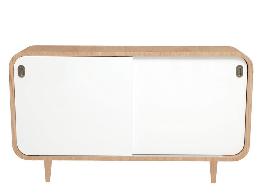 Wood veneer sideboard with sliding doors MALLY | Sideboard - AZEA