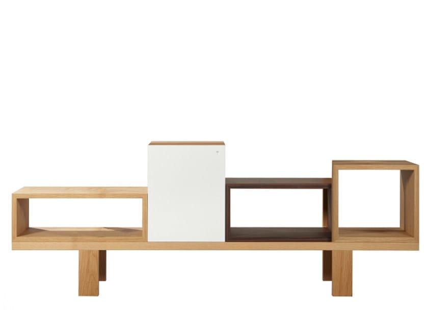 Open sectional wood veneer bookcase DURAS D1 | Open bookcase - AZEA