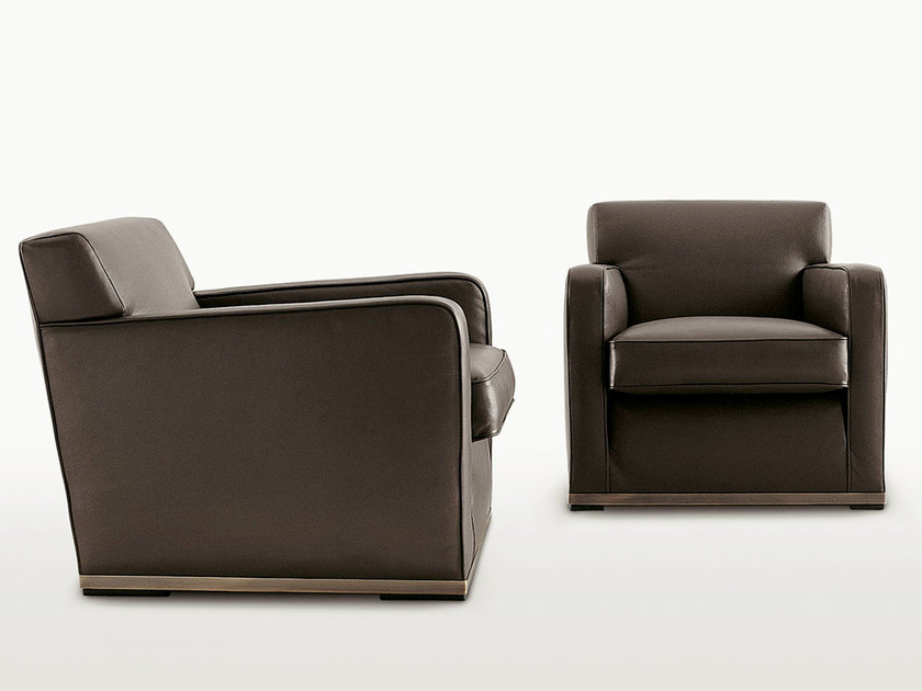 Upholstered leather armchair with armrests IMPRIMATUR | Leather armchair - Maxalto, a brand of B&B Italia Spa