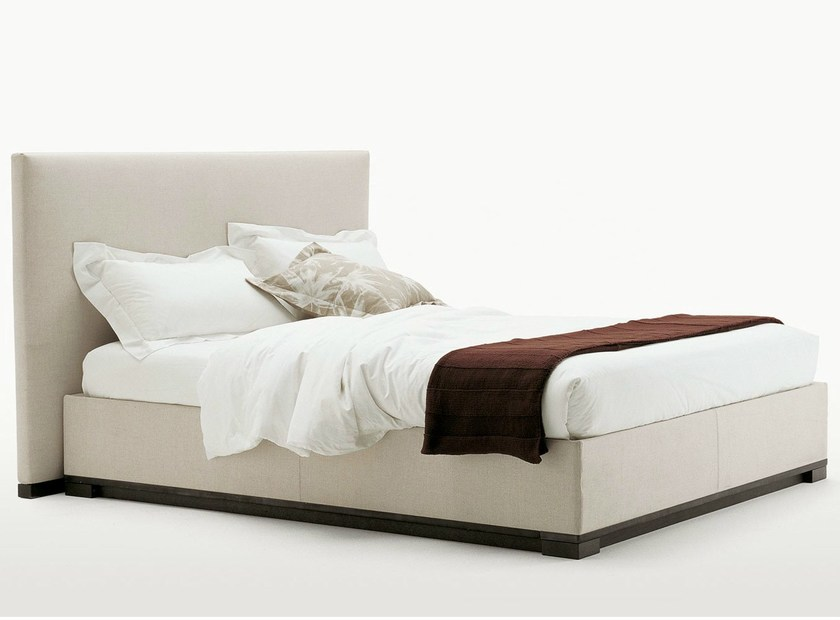 Fabric storage bed with upholstered headboard BAUCI by Maxalto