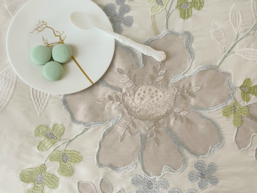 Synthetic fibre fabric with floral pattern EUGÉNIE - Zimmer + Rohde