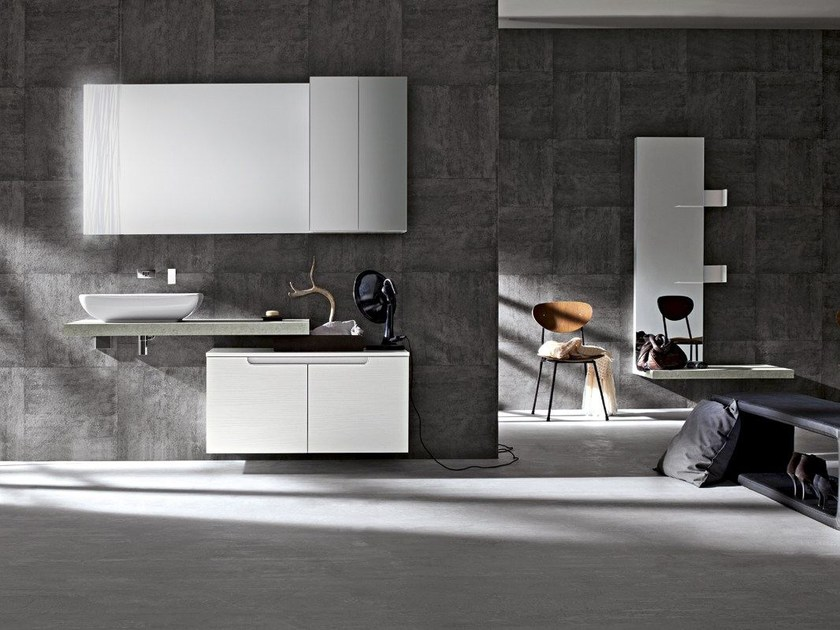 Lacquered single wall-mounted vanity unit RYO 36/37 by Cerasa