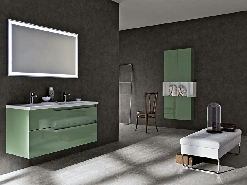 Lacquered single wall-mounted vanity unit RYO 54/55 - Cerasa