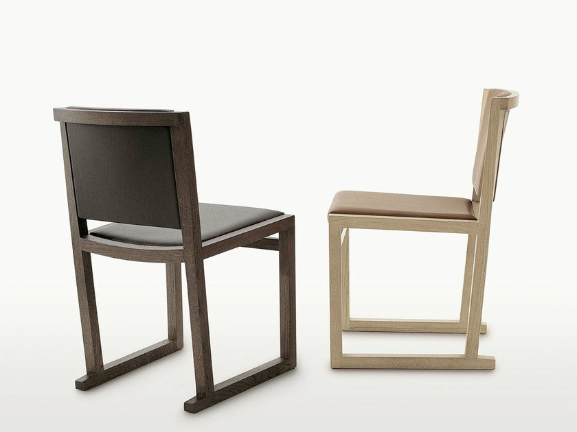 Sled base solid wood chair MUSA | Chair by Maxalto