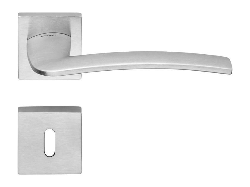 Chromed brass door handle on rose with lock ALA | Door handle with lock - LINEA CALI'