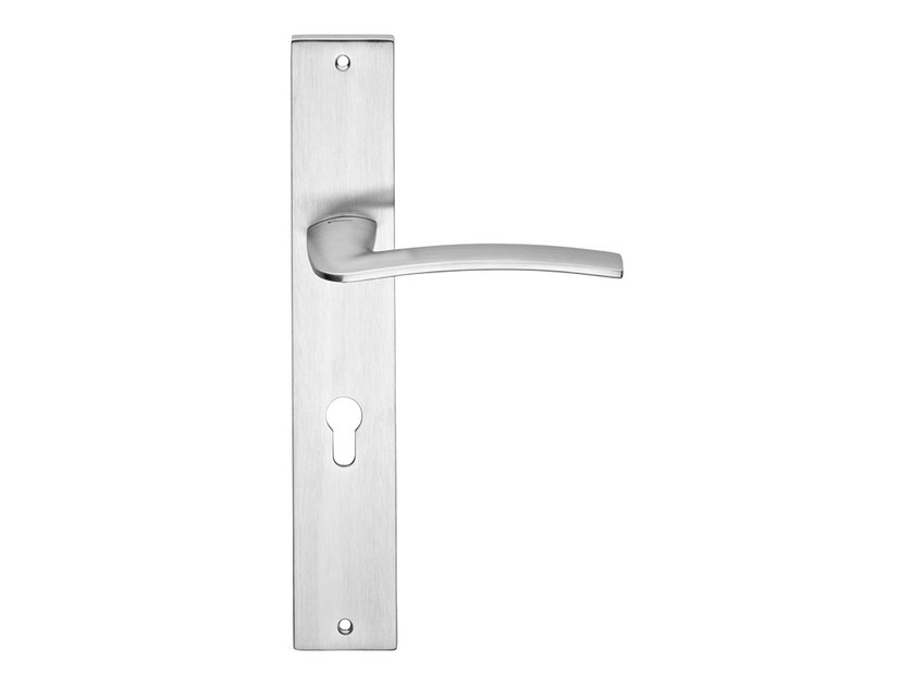 Chromed brass door handle on back plate ALA | Door handle on back plate - LINEA CALI'