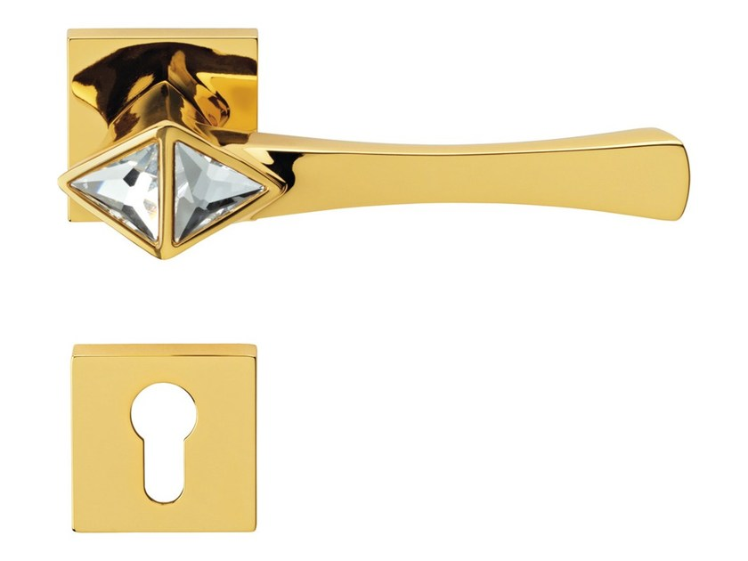 Chromed brass door handle with Swarovski® Crystals on rose with lock COMETA | Door handle with lock by LINEA CALI'