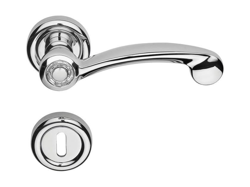 Chromed brass door handle with Swarovski® Crystals on rose with lock COSMIC | Door handle with lock - LINEA CALI'