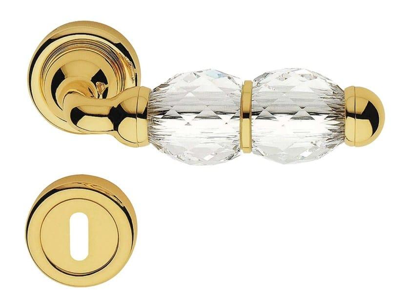 Chromed brass door handle with Swarovski® Crystals on rose with lock CRYSTAL | Door handle with lock - LINEA CALI'