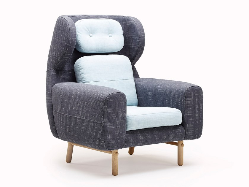 Upholstered fabric armchair with armrests AYO | Armchair - Stouby Furniture