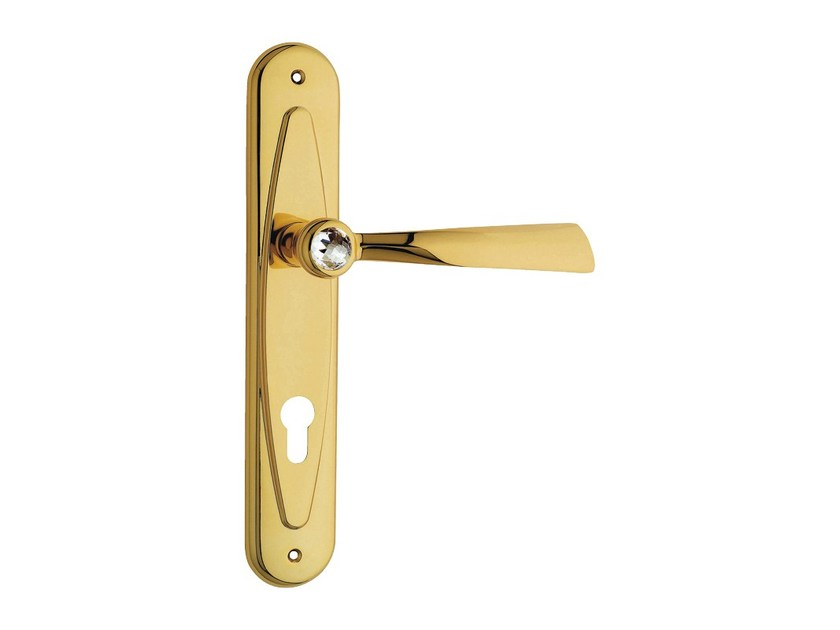 Chromed brass door handle with Swarovski® Crystals on back plate ELIKA CRYSTAL | Door handle on back plate by LINEA CALI'