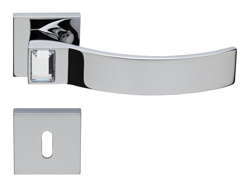 Chromed brass door handle with Swarovski® Crystals on rose with lock ELIOS CRYSTAL | Door handle with lock - LINEA CALI'