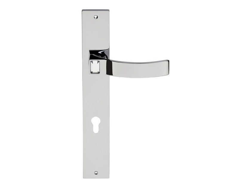 Chromed brass door handle with Swarovski® Crystals on back plate ELIOS CRYSTAL | Door handle on back plate - LINEA CALI'
