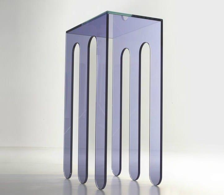 Consolle rettangolare in cristallo millepiedi a collezione for Consolle colorata