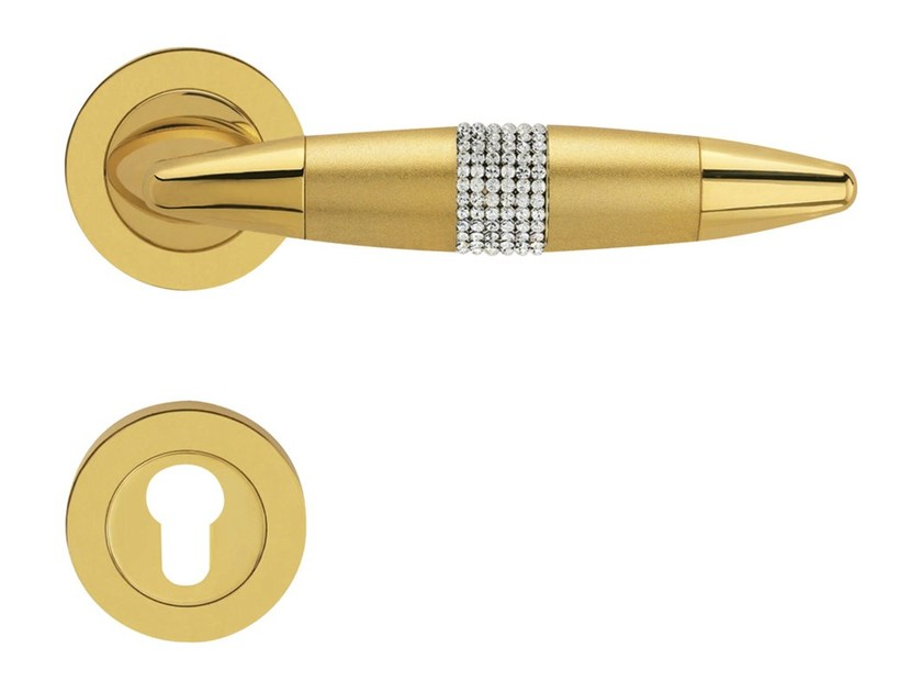Chromed brass door handle with Swarovski® Crystals on rose with lock HAVANA MESH | Door handle with lock - LINEA CALI'