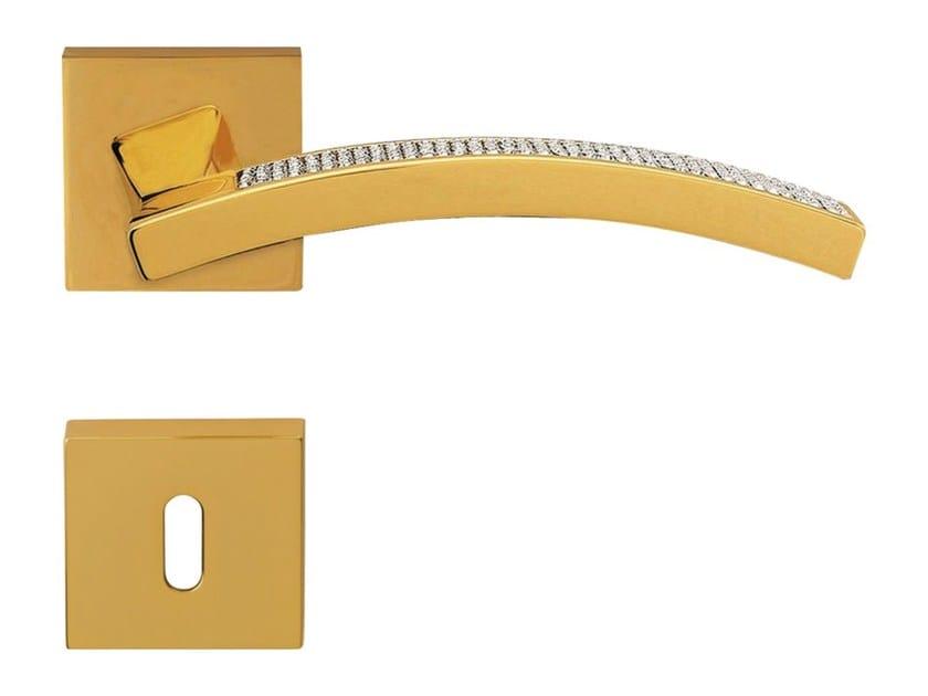 Chromed brass door handle with Swarovski® Crystals with lock PROFILO MESH | Door handle with lock - LINEA CALI'