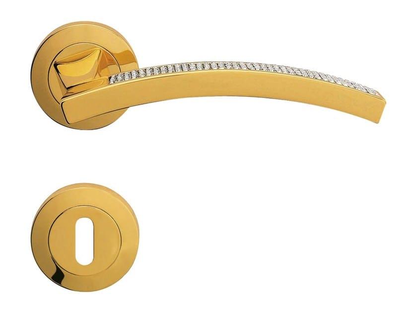 Chromed brass door handle with Swarovski® Crystals on rose PROFILO MESH | Door handle on rose - LINEA CALI'
