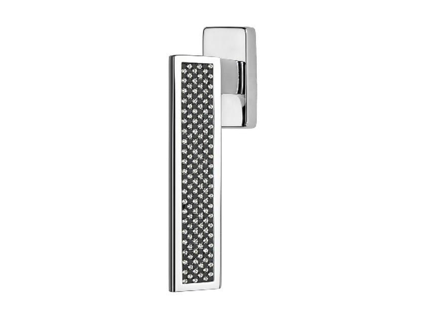 DK chromed brass window handle with Swarovski® Crystals on rose RIFLESSO BLACK | DK window handle - LINEA CALI'
