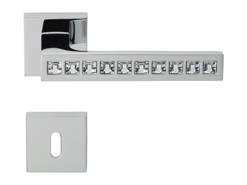 Chromed brass door handle with Swarovski® Crystals on rose with lock REFLEX   Door handle with lock - LINEA CALI'