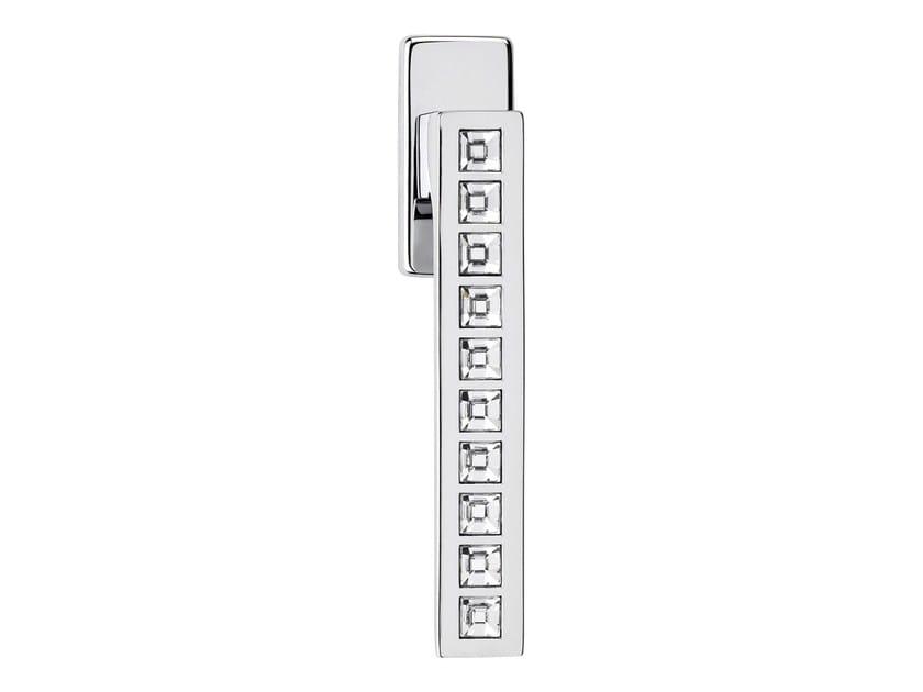 DK chromed brass window handle with Swarovski® Crystals on rose REFLEX | DK window handle - LINEA CALI'
