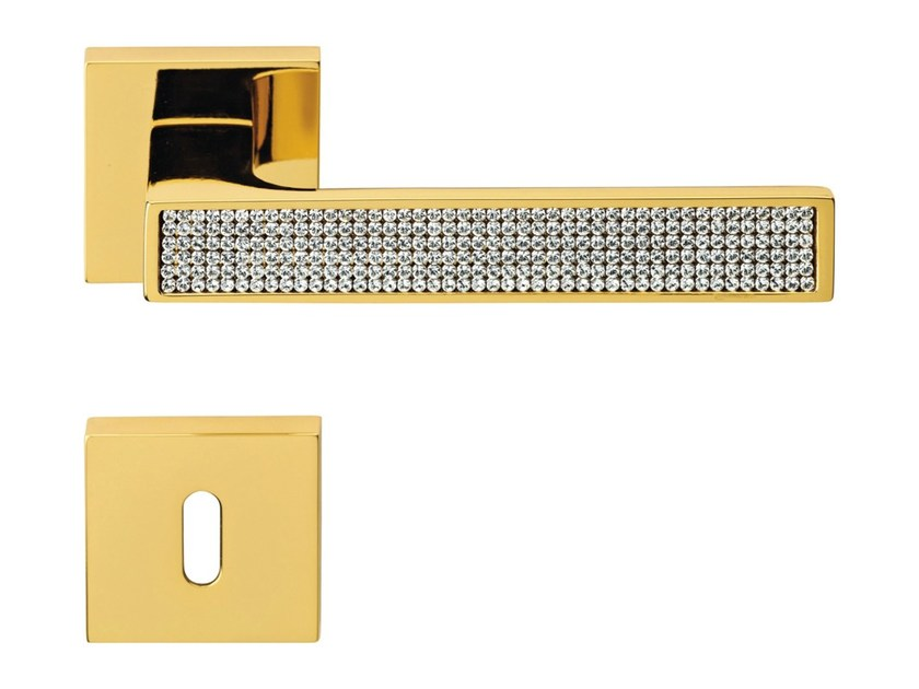 Chromed brass door handle with Swarovski® Crystals on rose with lock ZEN MESH | Door handle with lock - LINEA CALI'